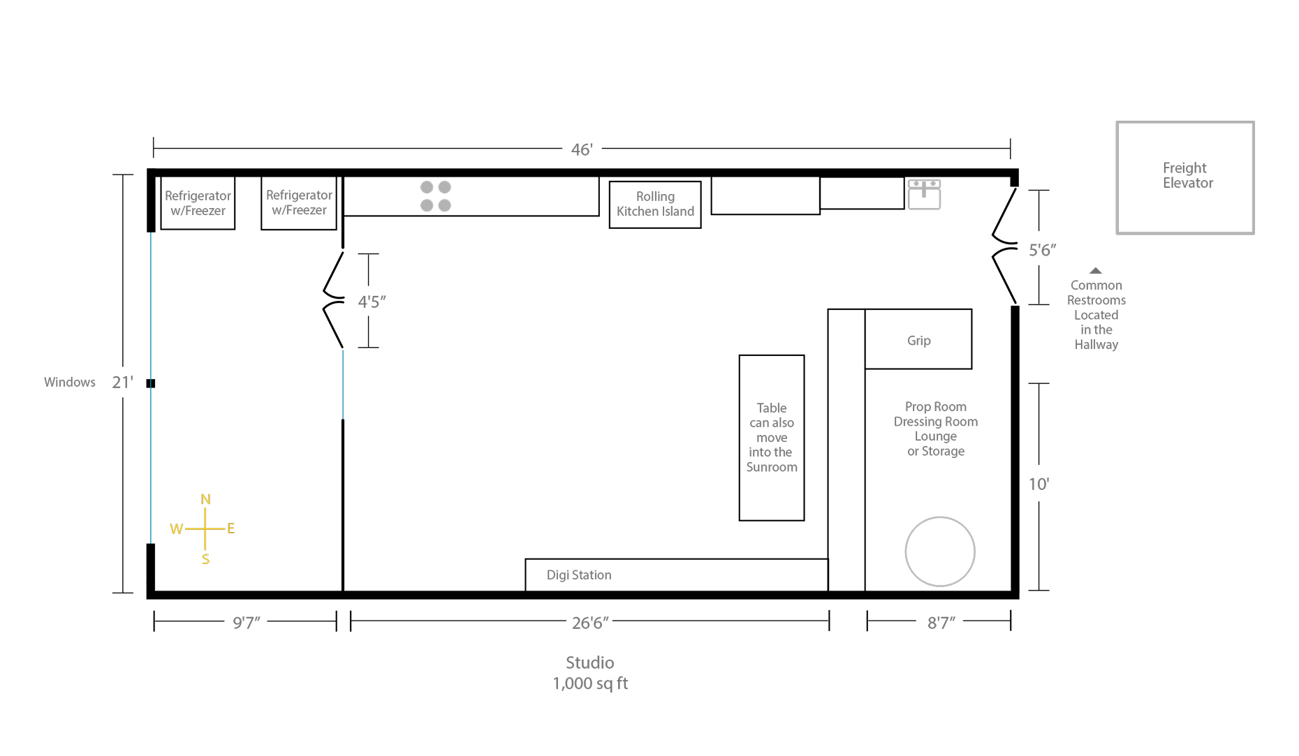 Photo Studio Rental SF Floor Plan Final